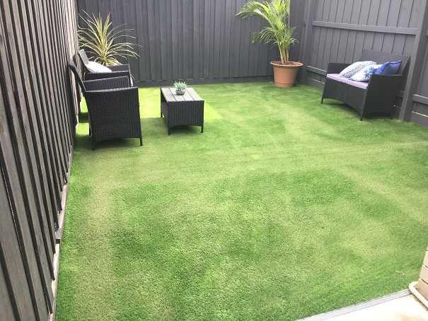 backyard transformation artificial grass after